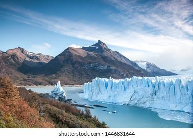 Famous view at brink of the Perito Moreno Glacier in Argentina