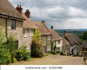 The famous view down Gold Hill at  Shaftesbury Dorset England UK Europe