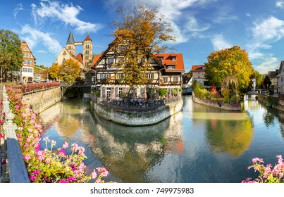 famous view of old medieval town Esslingen am Neckar in Germany