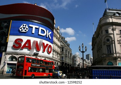 Famous view of Piccadilly Circus, London, UK