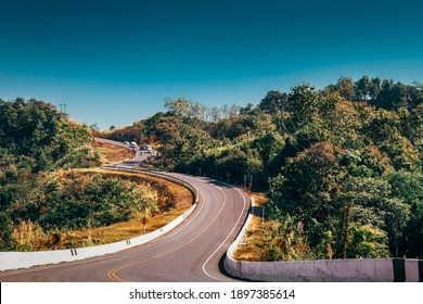 The famous view point and that tourists must stop by to check in.That is Number three of road among the mountains at Nan, Thailand.