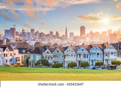 Famous view of San Francisco at Alamo Square CA, USA
