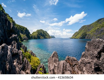 The famous view of the Tapiutan Strait in El Nido, Palawan - Philippines.