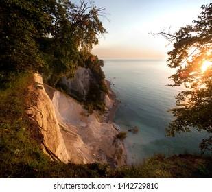 Famous view at Wissower Klinken similar painted by Caspar David Friedrich, chalk cliff of Ruegen island at sunrise