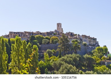 The famous village of Saint-Paul-de-Vence is a commune in the Alps-Maritimes department in southeastern France - one of the oldest medieval towns on the French Riviera.