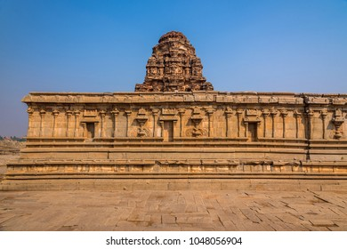The famous Vittala temple complex in Hampi, India, well known for its exceptional architecture. These ruins are from the Hindu Vijayanagara empire which existed in the 14th century.