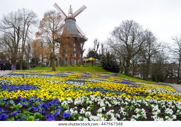 Famous Am Wall Windmill, an important and iconic building in Bremen, Germany