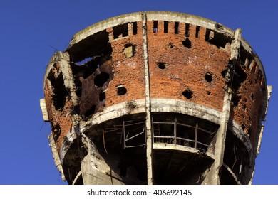 Famous, in war damaged, Vukovar water tower - Croatia
