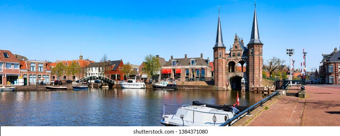 The famous Waterpoort Gate in the harbor of Sneek, Friesland, Netherlands