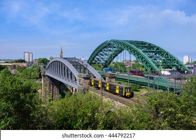 Famous Wearmouth Bridge and Railway Bridge spanning the River Wear, Sunderland, England