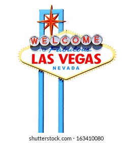Famous Welcome to Fabulous Las Vegas sign isolated on white