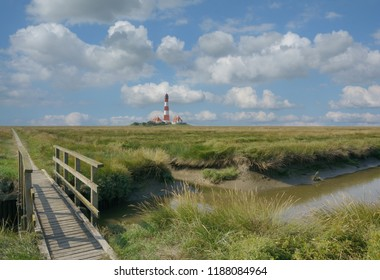 famous Westerhever Lighthouse in North frisia,Schleswig-Holstein,Germany