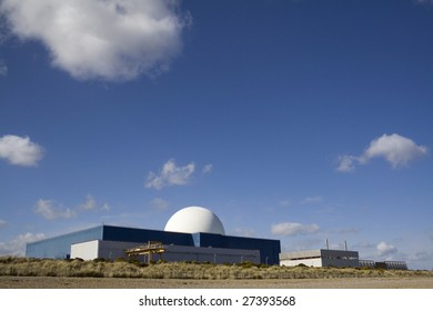 The famous white dome of Sizewell B nuclear power station on the Suffolk coast.
