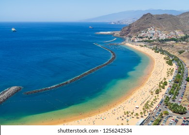 The famous white sand beach Playa de Las Teresitas. Tenerife. Canary Islands. Spain. View from the observation deck - Mirador Las Teresitas.