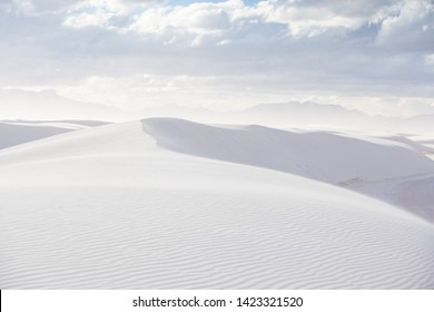 The famous White Sands National Park on a cold winter's day at dusk in New Mexico, USA