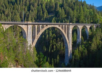 Famous Wiesener viaduct on the train line Davos -  Filisur in the swiss alps