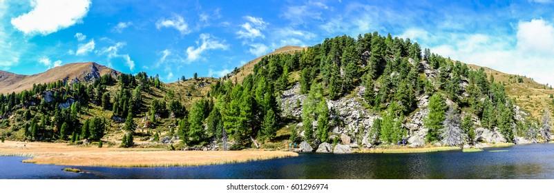 famous windeben lake at the nockmountains in austria