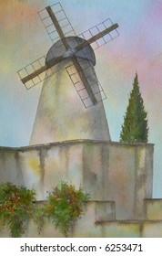 """Famous Wind-Mill, Jerusalem, Israel # 94-059; 23 x 33 cm. = 9"""" x 13"""""""