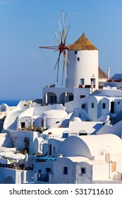 Famous windmill in Oia, Santorini shot in the morning at sunrise