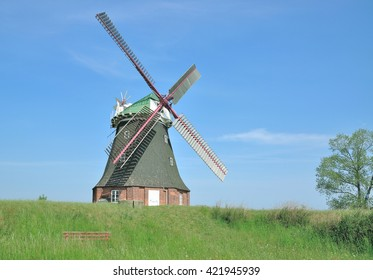 famous Windmill of Stove Boiensdorf at Salzhaff,baltic Sea,Mecklenburg Western Pomerania,Germany