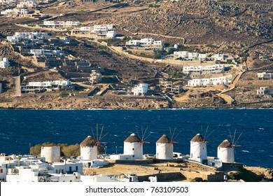 Famous windmills of Mykonos, Greece