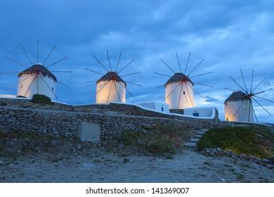 The famous Windmills of Mykonos island in Greece by night