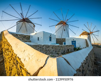 Famous windmills of Mykonos island in the morning