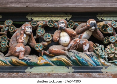 "Famous wood carvings ""see no evil, speak no evil and hear no evil"" of the three wise monkeys at Tosho-gu wood carvings at a Store House in Nikko Tosgogu Shrine, Japan."