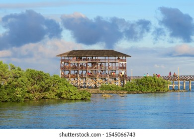 Famous wooden three levels hut on surfing spot Cloud 9 at Siargao island, Philippines