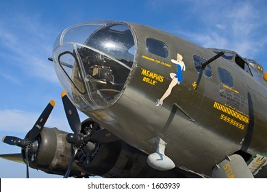 Famous World War 2 B-17 Flying Fortress bomber Memphis Belle against a cloudy blue sky