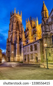 The famous York Minster in England at twilight