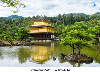 famous zen building of kinkakuji, the  golden pavilion in kyoto, japan