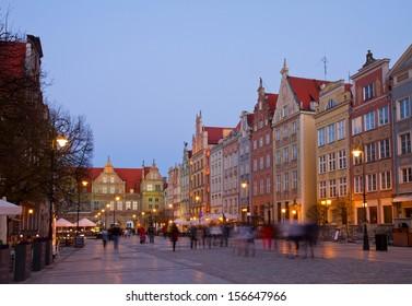 Famouse Dluga street at night, Gdansk, Poland