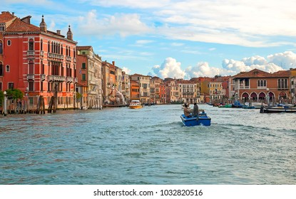 Famouse Grand canal in Venice, Italy, december 2017