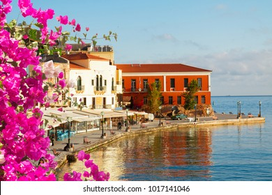 famouse venetian harbour waterfront of Chania old town, Crete, Greece with flowers
