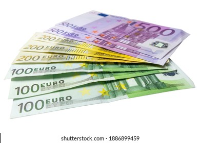 Fan of 100, 200 and 500 Euro bills on white from low angle