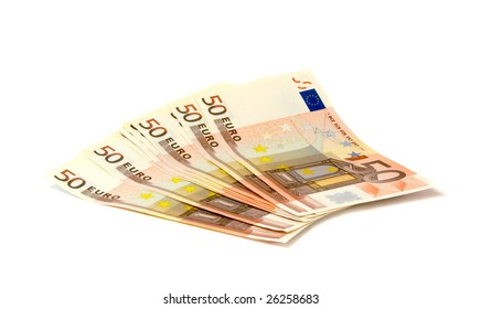 Fan of banknotes of euro for a background, close up