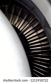 Fan blade of jet engine.Look out view from inside of jet engine focus at fan blade.