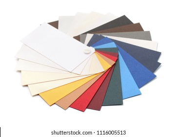 Fan of cardstock paper samples isolated on white
