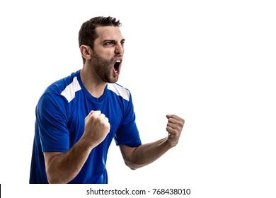 fan celebrating on white background