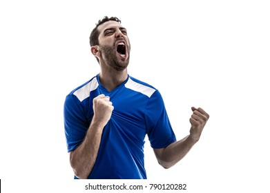 fan celebrating on white background