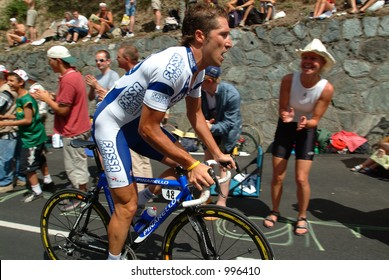 A fan cheers on a rider on the Alpe D'Huez Time Trial Tour de France 2004