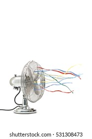 Fan with colorful ribbons