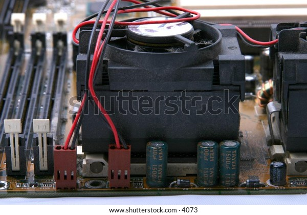 fan and components inside computer case