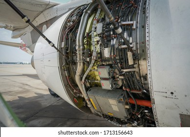 Fan cowl are opened showiInside jet engine
