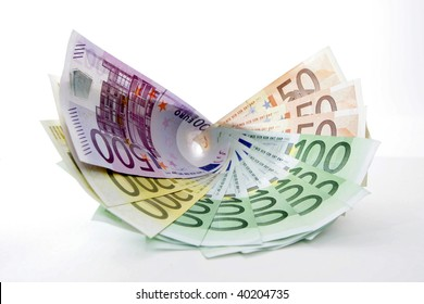 Fan of Euro bank notes, isolated on white background