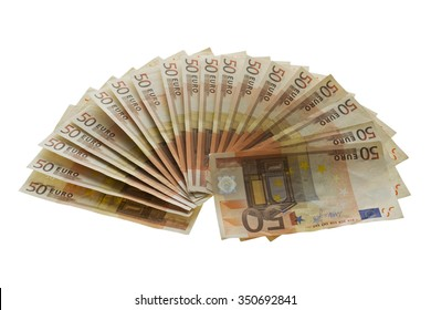 Fan from fifty euros money,  many mass currency isolated  on white background
