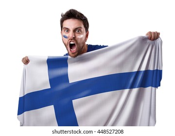 Fan holding the flag of Finland in the stadium