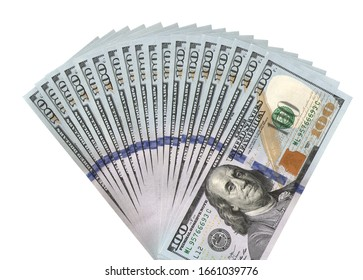 fan of hundred dollars banknotes png isolated
