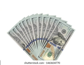 fan of hundred real dollars banknotes
